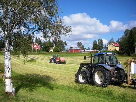 Bortre traktorn rullar balar medan den hitre plastar in dem
