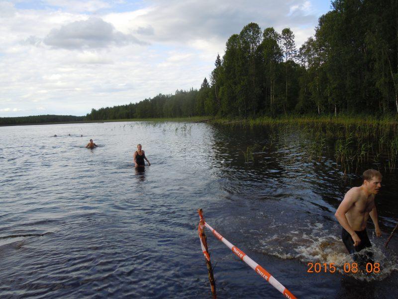 Efter 300 m simning